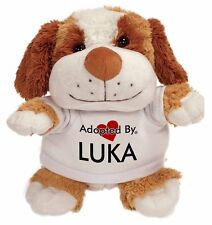 Adopted By LUKA Cuddly Dog Teddy Bear Wearing a Printed Named T-Shirt, LUKA-TB2