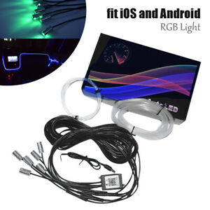 6in1 RGB LED Car Interior Strip Light Fiber Optic Neon Bluetooth APP Remote Kit