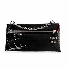 Chanel Charol Negro Acolchado Caleidoscopio Bolso Bandolera