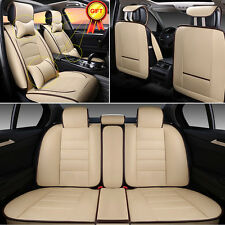 Full Deluxe PU leather 5-Seats Car Seat Cover Front+Rear Cushion W/Pillow Size M