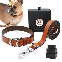 Luxury Leather Dog Collar & Leads for Medium Large Dogs German Shepherd Pit Bull