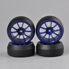 3mm Offset 1:10 RC Car  Speed Drift 0 Degree Tires Tyre Blue Wheel Rims 4PCS