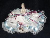 "7"" ESTATE German Porcelain Half Doll PINCUSHION with legs - C.1920"