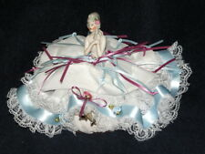 "7"" ESTATE German Porcelain Half Doll PINCUSHION with legs - C.1920"