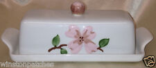 ORCHARD WARE PINK DOGWOOD 1/4 LB BUTTER DISH & LID CALIFORNIA POTTERY