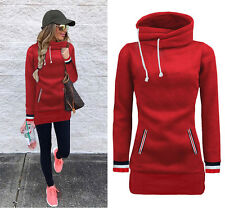 Womens Long Hoodies Sweater Ladies Fashion Sweatshirt Pullover Jumper Coat Tops