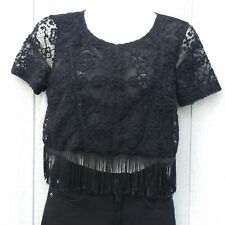 Topshop Women's Shirt Size US 4 Petite Lace SS Cropped Fringe
