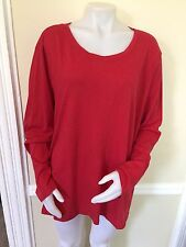 NWOT Sonoma Plus Size 2X Long Sleeve Red Tee T Shirt Top Blouse With Small Hole