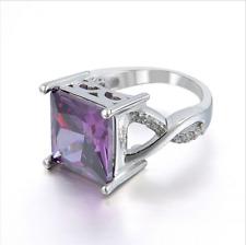 Fashion Women Tourmaline White Topaz Gemstone Silver Purple Ring Jewelry HF56