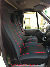 Renault Master (10 on) HEAVY Duty RED Trim VAN Seat COVERS - Single + Double