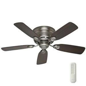 42 In. Indoor Antique Pewter Ceiling Fan With Remote Low Profile IV Quiet
