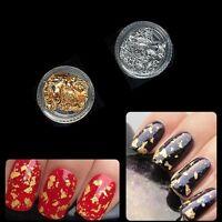 2pcs x 3g Nail Art Foil Gold Silver Tip Flakes Leaf Tip Paper Chip