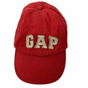 Gap Kids Spellout Red Cotton Large XL 6 Panel Adj Baseball Hat Ball Cap