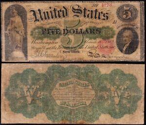 "1862 $5 ""HAMILTON"" GREENBACK Legal Tender Note! FREE SHIPPING! 4673"