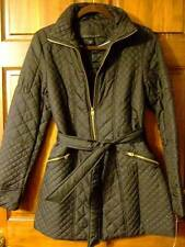 NWT ~ ATTENTION black quilted coat w/ gold zippers & tie belt ~ womens S