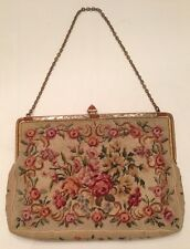 Vintage Petit Point Floral Bouquet Evening Hand Bag Purse Metal Closure Bakelite