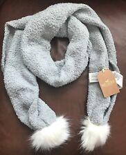 Hollister Scarf Pom Pom Cozy Knit Faux Fur Gray One Size Filled New $29.95