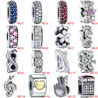 European 925 Silver Charm Spacer Bead Fit For Charms Bracelet Chain Necklace