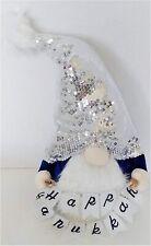 HANUKKAH  Gnome  plush toy decoration  BLUE WHITE SILVER NEW