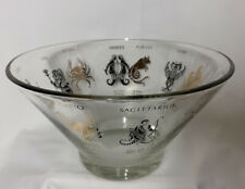 LARGE GLASS BOWL ASTROLOGY ZODIAC ASTROLOGICAL SIGNS-CHIPS SNACKS
