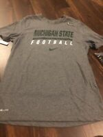 New Nike Mens Michigan State Spartans Short sleeve Shirt Size Large Gray Green