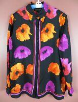 TB07055- DANA BUCHMAN Women's Silk Long Sleeve Blouse Multicolor Floral 10 MINT