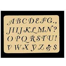 "Fancy Alphabet Letters Brass Stencil 3 1/4 x 2 1/4 letters approx 3/8"" fnt"