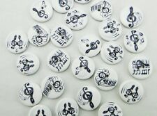 "10 MUSIC NOTES 2-hole White Wood Buttons 5/8"" (15mm) Scrapbook Craft (1603)"