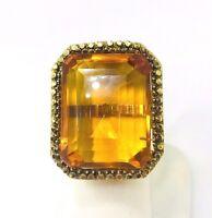 Vintage Large Citrine 45.00ct. Yellow Gold 18k./750 Ladies Ring UK Size M 1/2