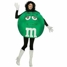 Mens Womens M&ms Chocolate Green Poncho Fancy Dress Adult Funny Costume Standard