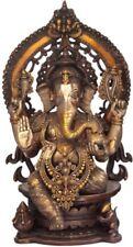 "Large Statue Ganesha Blessed On Kirtimukha Throne Jai God Hindu 26.3"" Brass 30KG"