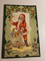 1910 A. JAEGER CHRISTMAS SERIES #18 HIS BUSY DAY SANTA WITH BAG OF TOYS UNPOSTED