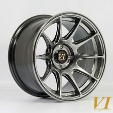 "4 x ViP BDR Hyper Black 15"" x 8.25"" 4x100 et0 alloys fit Mazda Mx5 Civic"