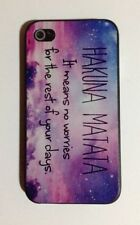 Purple Pink and Blue Hakuna Matata No Worries Back Case Cover For iPhone 4 4S