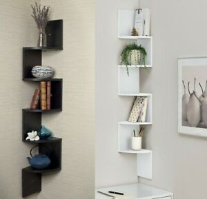 2/3/ 5 Tier Floating Wall Shelves Corner Shelf Storage Rack Dec Display Bookcase