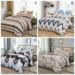 Striped Geometric Quilt Doona Duvet Cover Set Queen/King Size Bed Pillow Cases
