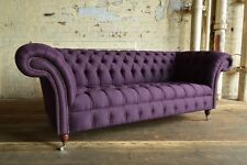 Modern Handmade 3 Seater Aubergine Purple Wool Chesterfield Sofa Couch Chair