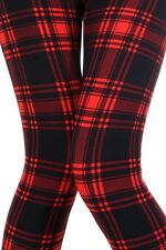 Black / Red Buttery Soft Brushed Full Leggings Plaid Printed Pants ONE SIZE 2-12