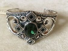 New, heavy Barse Jewelry Green Crystal with Sterling Silver Bracelet,  MSRP $850