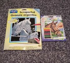 Set Of 2 Horse Drawing Sets- Scraperfoil And Color By Number