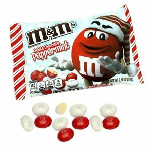 M & M's ~ Peppermint White Chocolate Candy 2-Bags 7.44 Oz Each ~ FREE SHIP USA