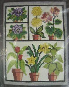 Vintage Caron GREENHOUSE Sealed Needlepoint Kit 1977 Canvas 11x14 Flowers