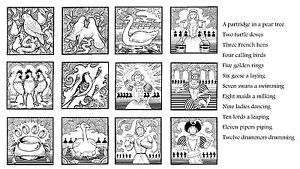 Unmounted Rubber Stamps 12 Days of Christmas set of 3 sheets
