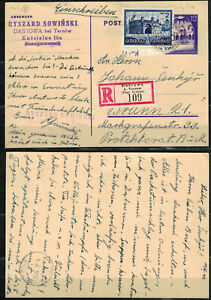 POLAND - GERMANY WW II FISCHER II # Cp. 9 a.  ON REGISTER  POSTCARD  SENT FROM D