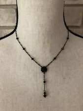 LIZ PALACIOS Necklace Black Chain Faceted Crystal Beads Flower Pendant