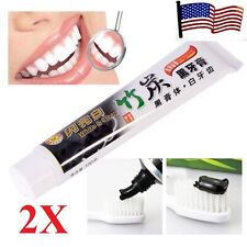 2x  Bamboo Charcoal Teeth Whitening Black Toothpaste Removes Stain