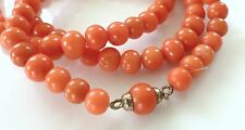Vtg Salmon Red Coral Gold Plated Necklace Graduated Bead Antique Victorian