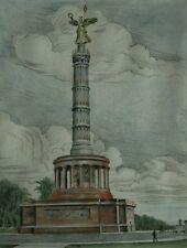 Rare Original Hand Colored Etching of Berlin Siegessaule in Germany Signed