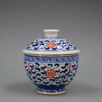 Chinese Blue and White Porcelain Qing Kangxi Red Flower Design Bowl with Lid