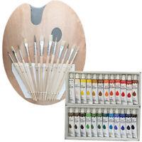 Artist 24 OIL COLOR Painting Paint Set + 12 Brush Set with Wood Palette SET